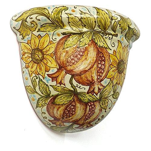 Ghenos - Gerla angolare Frutta e Fiori in maiolica dipinta a mano - Girasoli e Melograni