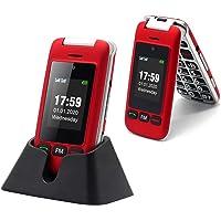 Seniorenhandy, Artfone Klapphandy Dual Bildschirm 2,4 Zoll Flip Mobiltelefon Senioren-Handy Großtastenhandy ohne Vertrag…