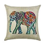 hengjiang Kissen braun pink grau Artistic Animal Elefant Gemälde 120g Dicke Baumwolle Leinen doppelseitig 45,7x 45,7cm 45x 45cm Überwurf Kissen für Home Sofa Bett Geburtstag Geschenk 18