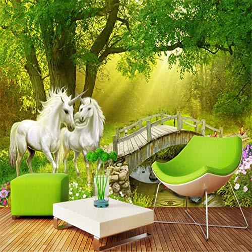 Tapeten Wandbild Hintergrundbild FototapetePapel De Parede Wald Weißes Pferd Einhorn Holzbrücke Tv Hintergrund Wandtapete Kinderzimmer 3D Tapete, 200 * 140Cm