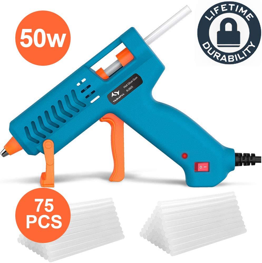 Pistola-Colla-a-Caldo-50W-Tilswall-Pistola-Incollatrice-con-75pcs-Stick-di-Colla-130mm-Glue-Gun-con-Anti-drip-Brevetto165-Termostatica-per-Progetti-Artigianali-Casa-Riparazioni-Blu