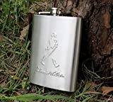 Johnnie Walker Design Embossed 8oz (230 ml) Stainless Steel Hip Flask