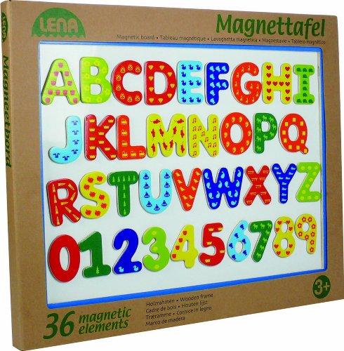 Lena 65822 - Holz Magnettafel mit 26 Buchstaben, ca. 44 x 38 cm
