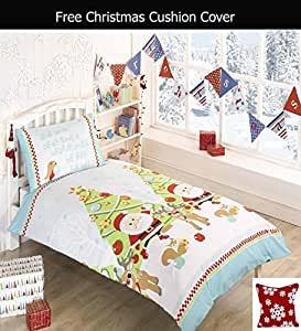 adamlinens bettw sche set decken und kopfkissenbezug mit weihnachtsmotiv ideal f r kinder. Black Bedroom Furniture Sets. Home Design Ideas