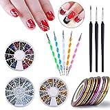 Biutee Colorées Modèle 3 Bandes Strass + 30 Pcs Couleur Ligne Ruban Adhésif + 8 Pcs Nail Art Pinceaux