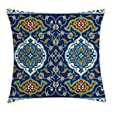 tgyew Moroccan Throw Pillow Cushion Cover, Authentic Oriental Motif with Vintage Byzantine Style Tile Effects Artwork, Decorative Square Accent Pillow Case, 18 X 18 inches, Mustard Royal Blue