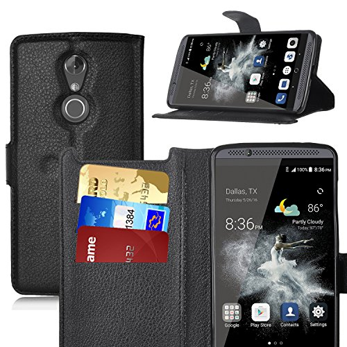 Axon 7 mini Hülle, KuGi ® Axon 7 mini Hülle- Hochwertige Ständer PU-Leder-Mappen-Kasten für ZTE Axon 7 mini 4G LTE Smartphone.(Schwarz)