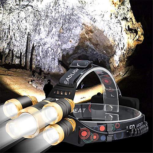 LED Kopf Taschenlampe Scheinwerfer, Infrarot Bewegungsmelder Dual Lithium Batterie USB Wiederaufladbarer T6 Scheinwerfer, 90 ° Drehbarer Verstellbarer Scheinwerfer, Geeignet Für Läufer Angeln (Gold)
