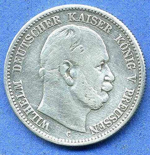 orig. Silbermünze 2 Mark 1876 C Preußen Wilhelm I - erstes Prägejahr - Kaiserzeit