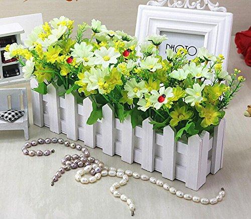 Lx.AZ.Kx Fiori e piante artificiali con staccionata in legno vasi di fiori di emulazione ornamenti Kit Soggiorno decorazioni floreali,Bianco Verde Lan Skip Ju