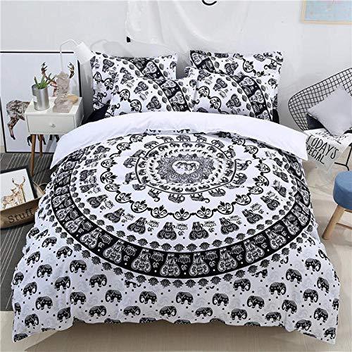 Elefant Mandala - Funda de edredón con estampado creativo para cama doble...