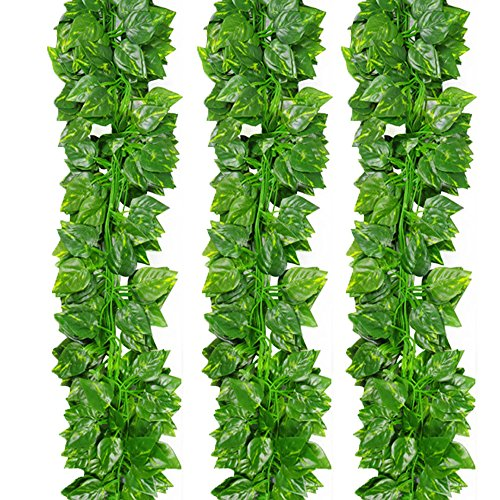& Silk Fake Künstlicher Efeu Ivy Leaves Aufhängen Weinlaub Girlande für Hochzeit Party Garten Wand Dekoration Green Radish Leaves (Seide Blume Halskette)