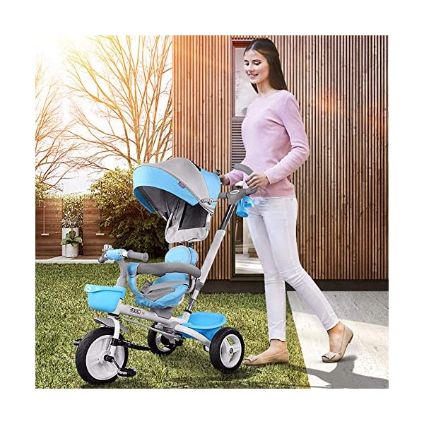 GSDZSY - Foldable Children Tricycle, Pusher Adjusts Height And Control Direction, Seat 360° Rotatable,Rainproof And UV Protection Awning,1-6 Years Old GSDZSY ❀ Material: High carbon steel + ABS + rubber wheel, suitable for children from 6 months to 6 years old, maximum load 30 kg ❀ Features: The push rod can be adjusted in height, the seat can be rotated 360, the backrest can be adjusted, the baby can sit or recline; the adjustable umbrella can be used for different weather conditions ❀ Performance: high carbon steel frame, strong and strong bearing capacity; non-inflatable rubber wheel, suitable for all kinds of road conditions, good shock absorption, seat with breathable fabric, baby ride more comfortable 6