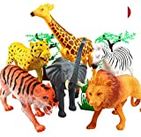 #6: Funny Teddy 20 pcs Wild Realistic Animal Toy Set with Jungle Wallpaper/mat - Educational Learning Game for Kids | Animal Figures | High Quality | Large Size | Birthday Gift (Wild Animals)
