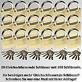 18 Set Vorhängeschloss massiv 38mm mit 108 Schlüsseln GLEICHSCHLIEßEND!