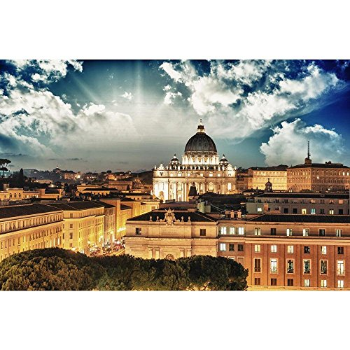 PB Rome Buildings with Vatican St Peter Dome, Italy Peel & Stick Vinyl Wall Sticker 27.2 x 18inch (Dome St Peters)