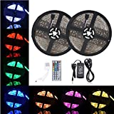 BOHAO Led Strip Light Waterproof 600leds 32.8ft 10m Waterproof Flexible Color Changing RGB SMD 5050 600leds LED Strip Light Kit with 44 Keys IR Remote Controller and 12V 6A Power Supply(10M 600LED Waterproof light)
