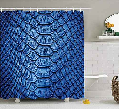 ZMYGH Animal Print Collection, Colored Snake Skin Pattern Alligator Fancy Luxury Leather Clothing Artwork, Polyester Fabric Bathroom Shower Curtain Set with Hooks, Blue Snake-leather-tan