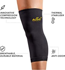 Activ+ Copper Infused Knee Brace Support Cap For Pain Relief - Black
