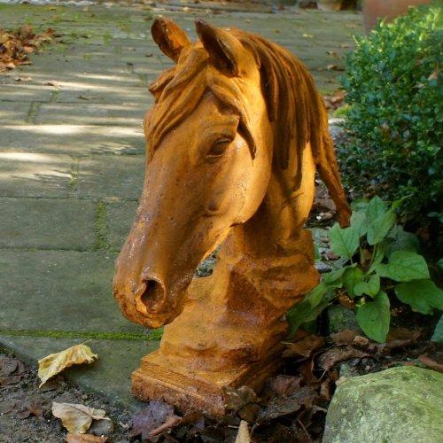 Antikas - Pferdekopf für Mauer-Pfeiler, Garten-Mauer-Dekoration, filigrane Eisen Skulptur