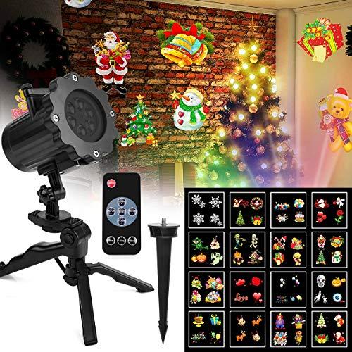 Projektor Licht Außen Fochea LED Gartenstrahler Set, LED Außen Strahler, Weihnachten LED Projektionslampe Effektlicht Projektor Lichter 16 Muster für Weihnachten Halloween Aussen Innen (Halloween Nails Ideen)