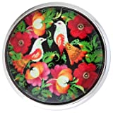 Morella Damen Glas Click-Button Druckknopf Vögel in Blumenbeet