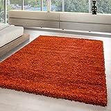 Hochflor Shaggy Teppiche für Wohnzimmer, Esszimmer, Gästezimmer, Jugendzimmer, Babyzimmer mit 3 cm Florhöhe einfarbig Wohnzimmer Teppiche. Die Teppiche mit OKOTEX zertifiziert und aus 100%Polypropylen hergestellt. Gewicht 2000 g/gm, Maße:120x170 cm, Farbe:Orange
