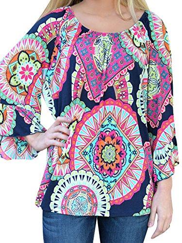 LaoZan Abito Vestiti Casuale Manica Lunga Stampato Allentato Mini Abito Donna Vestito Corto Blu Zaffiro Rosso 3XL