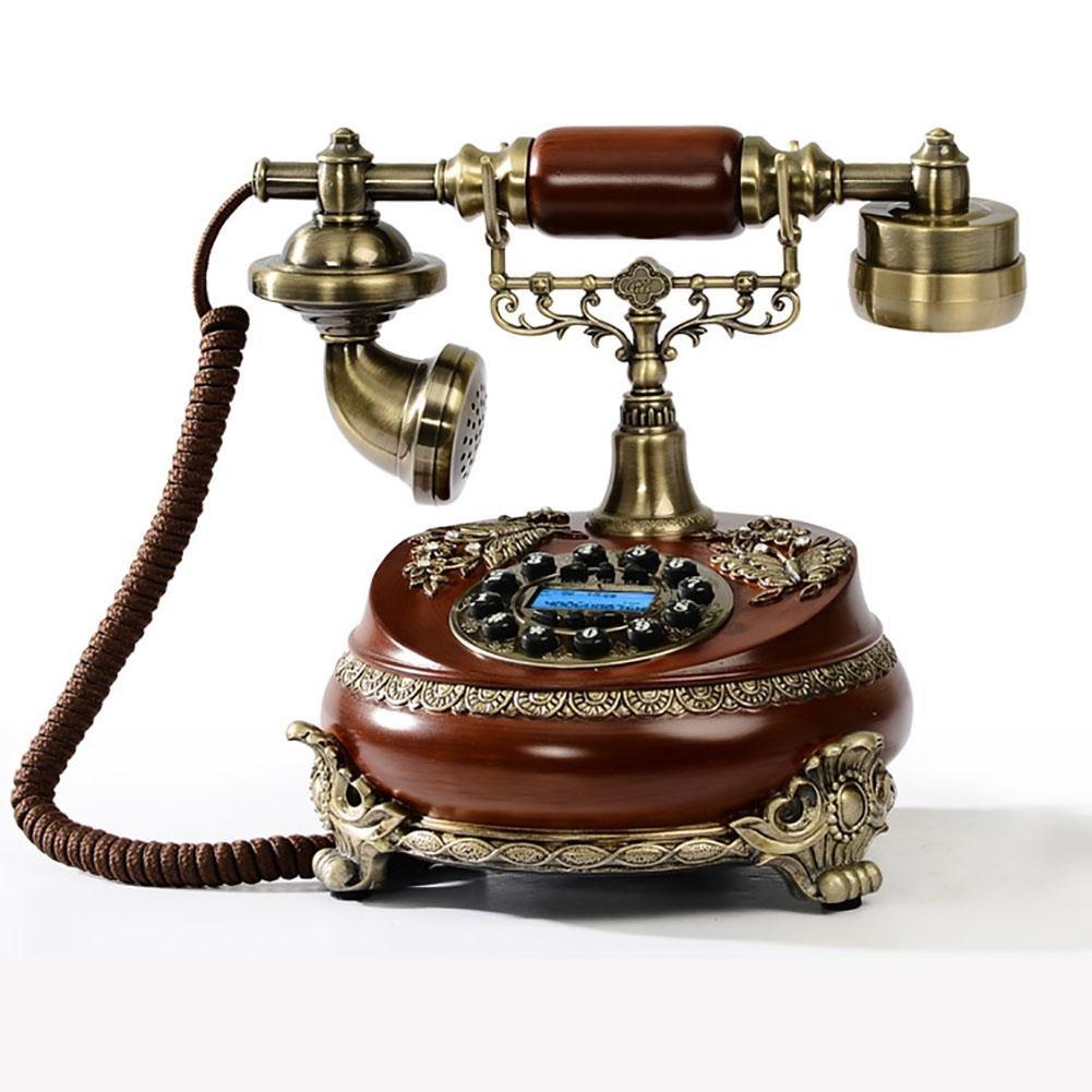 BBIAY Home Telefono per scrivania, Retro arte stile antico, schermo blu + vivavoce, camera da letto