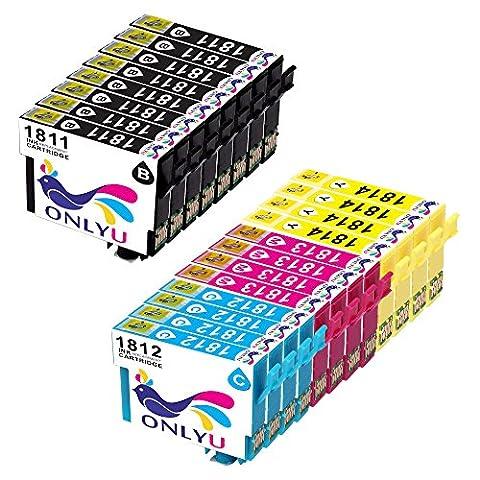 ONLYU 20-Pack Compatible Epson 18XL T1811 T1812 T1813 T1814 Cartouche d'encre pour Epson Expression Home XP-30 XP-33 XP-102 XP-202 XP-205 XP-212 XP-215 XP-225XP-302 XP-305 XP-312 XP-315 XP-322 XP-325 XP-402 XP-405 XP-405WH XP-412 XP-415 XP-422 XP-425 (8B/4C/4M/4Y)