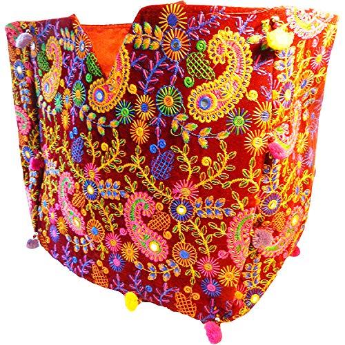 Indische Baumwolltasche bunt rot Paisley Stickereien Spiegel Tasche Accessoire