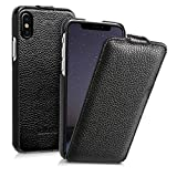 kalibri-Flip-Hlle-Ultra-Slim-Tasche-fr-Apple-iPhone-X-Leder-Schutzhlle-Case-in-Schwarz