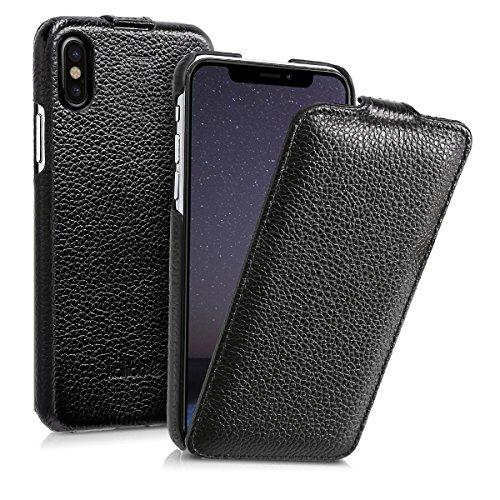 kalibri-Flip-Hlle-Ultra-Slim-Tasche-fr-Apple-iPhone-X-Leder-Schutzhlle-Case-in-Schwarz