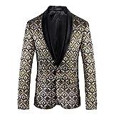Herren High-End Floral Bedruckt Modern Slim Fit Beiläufig Jacke Blazer (Blumen,XL)