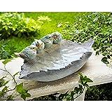 Vogeltränke Blatt aus Kunststein mit Spatzenfigur Spatz Figur Garten Deko NEU