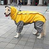 zhbotaolang Art-und Weise Wasserdichter Regenmantel für Großen Hund Hoodie Kleidet No.20-30(Gelb)