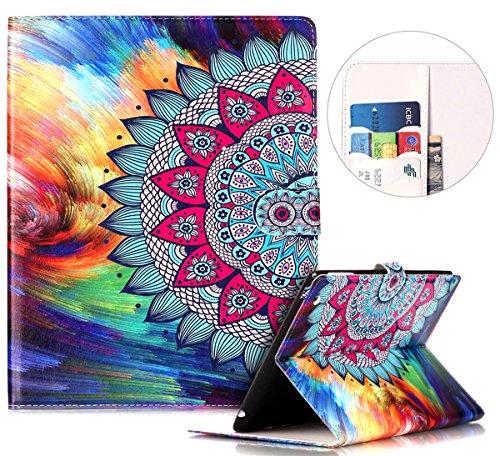 kompatibel mit iPad 2 Hülle Case,iPad 3 Hülle,iPad 4 Hülle,iPad 2/3/4 Schutzhülle,Bunt Muster PU Leder Tasche Flip Hülle Wallet Case Flip Cover Hüllen Etui Lederhülle für iPad 2/3/4,Mandala Blume