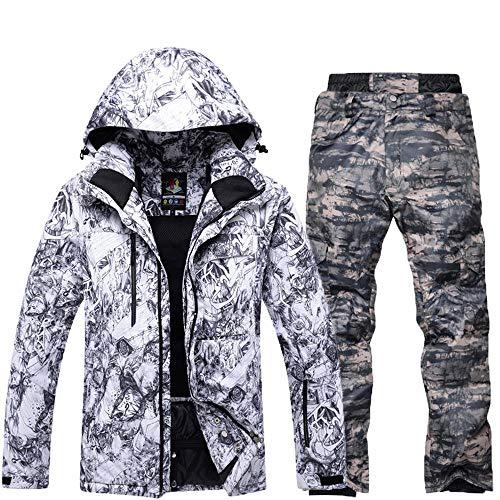 mingliang Tuta da Sci Maschile, Doppia Pensione Impiallacciato Invernale Impermeabile Sci Set Tute da Neve + Pantaloni A Deep Camouflage-M/S