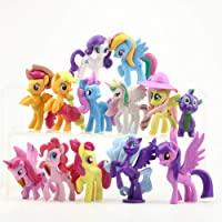 P S Retail Little Rainbow Pony-Unicorn Horse Toys - Action Figure (12 pcs/Set)