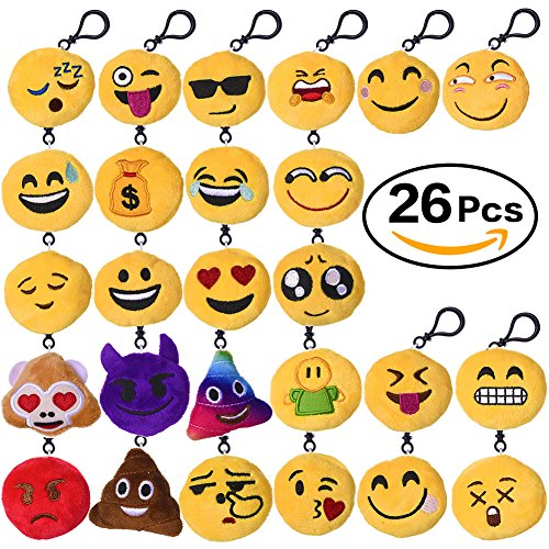 Aresmer-26-Pack-Emoji-Keychain-Mini-Plush-Pillow-Toys-Keychain-Decorations-Party-Supplies-Favors-for-Kids-2-Inch-Set-of-26
