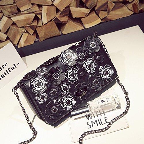 Damen-Mode Blumen-Dekoration Kette Tasche Schulter Messenger Bag Schwarz