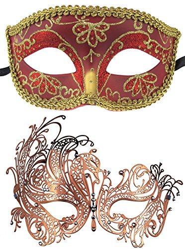 Coddsmz 2 Pack Set Masken Maskerade Ball Halloween Kostüme für Männer und Frauen (Rot + Rosenrot) (Maskerade-masken Männer Rote Für)