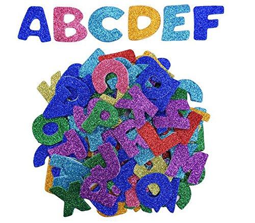 bstklebendes Glitzer Schaumstoff Sticker Alphabet Buchstabe Aufkleber für Kunst DIY Dekoration ()