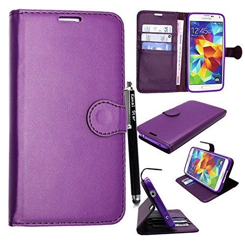 Samsung Galaxy S3 S3 neo i9300 i9301 Funda, Kamal Star® PU Leather Cuero con Tarjeta de Crédito Slots Funda Wallet Carcasa Cover + Stylus (Plain Purple