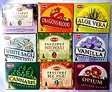 Räucherkegel Mix 9 verschiedene HEM je 10 Stück Cannabis Rose Sandelholz Aloe Vera Weihrauch Vanille Opium Patchouli je 3,2 cm hoch