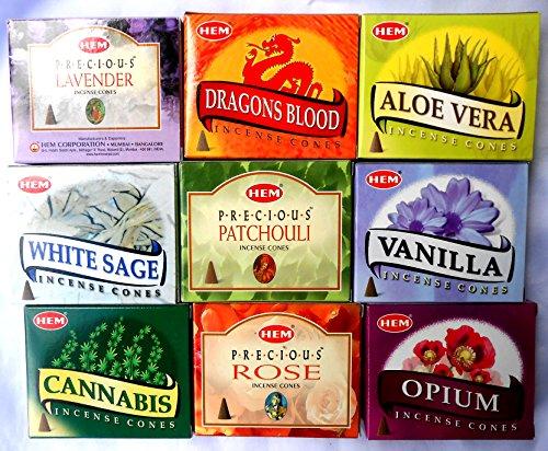 HEM - Incensi, 10 pz per ogni profumazione, Cannabis, rosa, sandalo, aloe vera, sangue di drago, vaniglia, oppio, patchuli, 3,2 cm di altezza