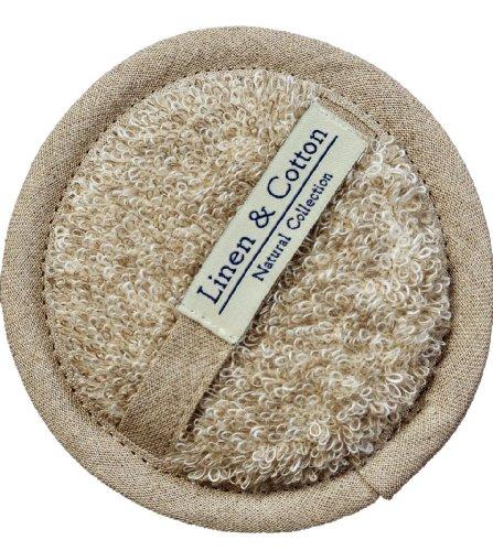L'éponge Exfoliante en Lin Pour Le Corps et Visage AIRA, 60% Lin, 40% Coton - Beige/Naturel (15cm)