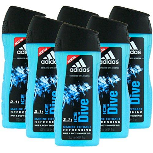 6x 250ml Original Adidas Showergel Ice Dive Duschgel