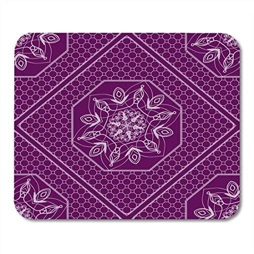 Luancrop Mauspads Ethnische weiße Grenze Lace Floral Texturefor Interior Design Kissen Blume Mauspad für Notebooks, Desktop-Computer Mauspads, Office Supplies -