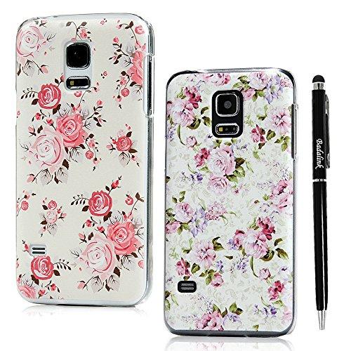 BADALink Hülle für Samsung Galaxy S5 Mini 2 Stück Hülle PC Hardcase Bunt Cover Etui Colourfu Blumen Flowers Muster Rosa Pink Grün Handyhülle Shell+Eingabestift Kapazitive Stylus Pen